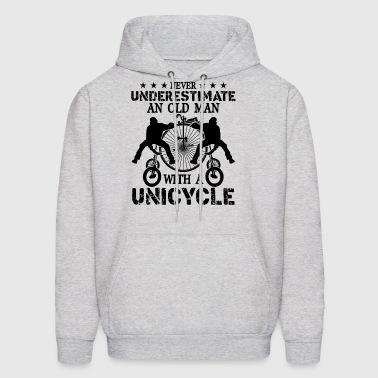 Old Man With A Unicycle Shirt - Men's Hoodie