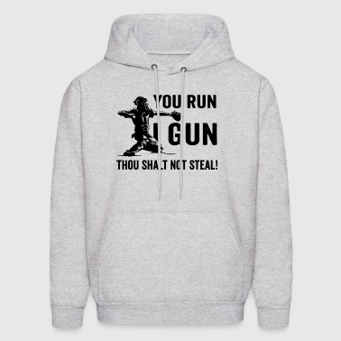 you run I gun thou shalt not steal baseball t shir - Men's Hoodie