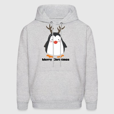 Red Nose Penguin Merry Christmas funny tshirt - Men's Hoodie