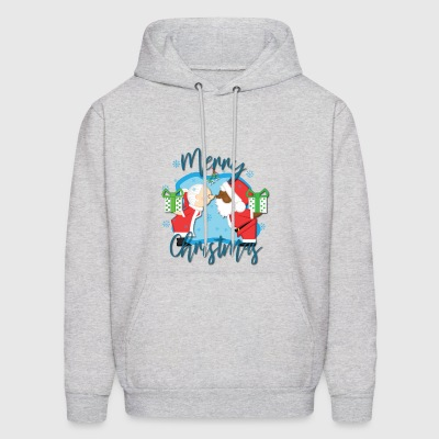 African American Santa kissing White Mrs. Claus - Men's Hoodie