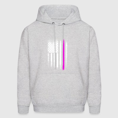 american flag pink line breast cancer solidarity h - Men's Hoodie