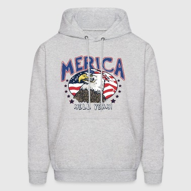 Merica Hell Yeah Patriotic Bald Eagle - Men's Hoodie