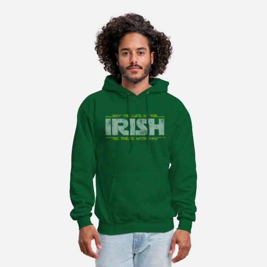 Day Hoodies & Sweatshirts - St Patrick's Day May the Luck of the Irish  - Men's Hoodie forest green
