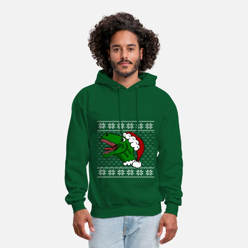 T Rex Christmas Sweater.T Rex Christmas Sweater Men S Hoodie Forest Green