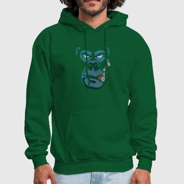 Primate Gorilla Face Smoked, Smoking Primate, Monkey - Men's Hoodie