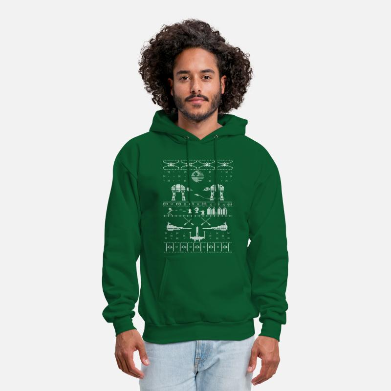 Christmas Hoodies & Sweatshirts - Star Wars X-Mas Sweater Satire - Men's Hoodie forest green