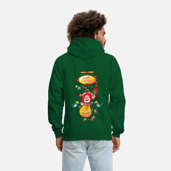 Christmas Present Hoodies & Sweatshirts - Santa has a Zeppelin to Deliver Xmas Gifts - Men's Hoodie forest green