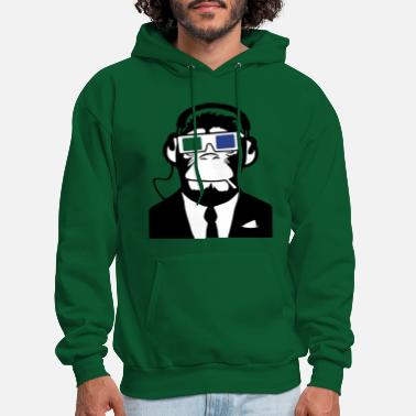 Music 3D Ape Monkey Club Electro Motive Headphones - Men's Hoodie