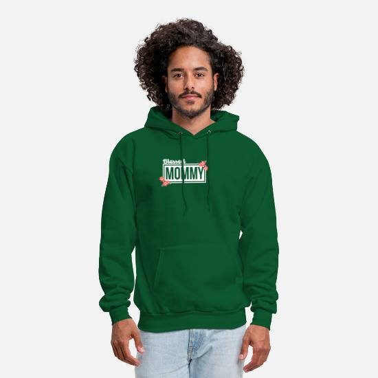 Father's Day Hoodies & Sweatshirts - Blessed Mommy With Flower White Color T Shirt - Men's Hoodie forest green