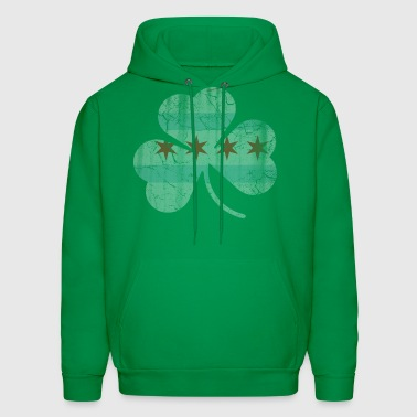Irish Chicago Flag Shamrock - Men's Hoodie