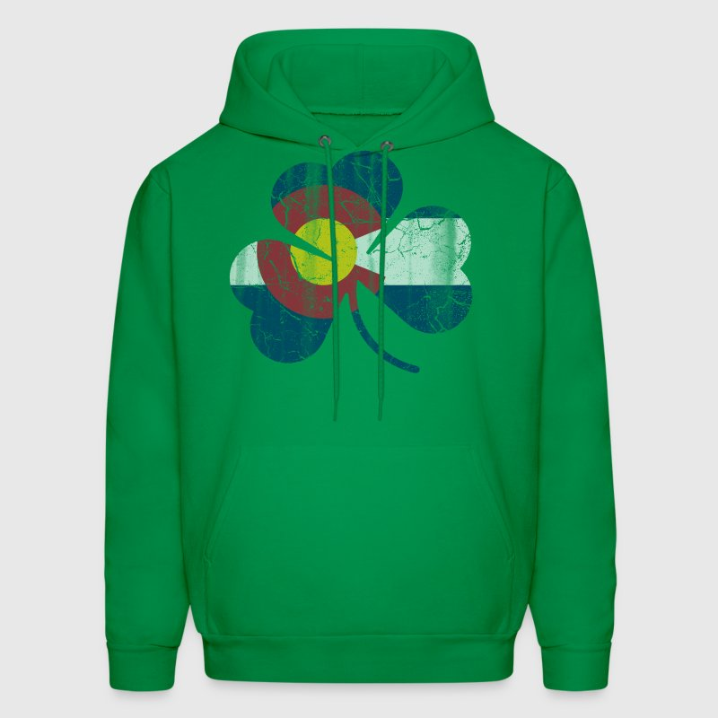 Irish Shamrock Colorado Flag  - Men's Hoodie