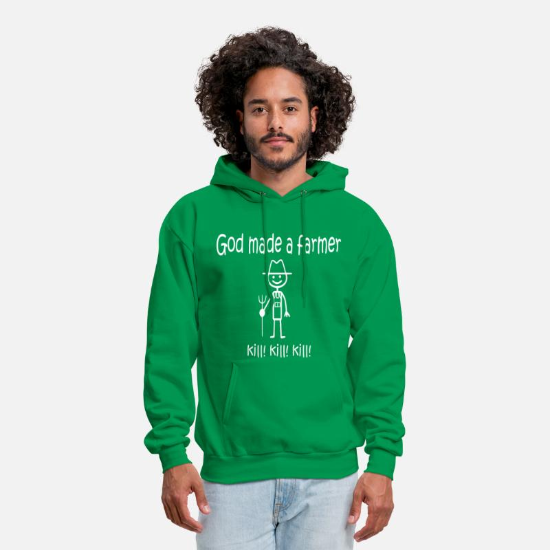 Farmer Hoodies & Sweatshirts - God Made a Farmer KILL KILL KILL - Men's Hoodie kelly green