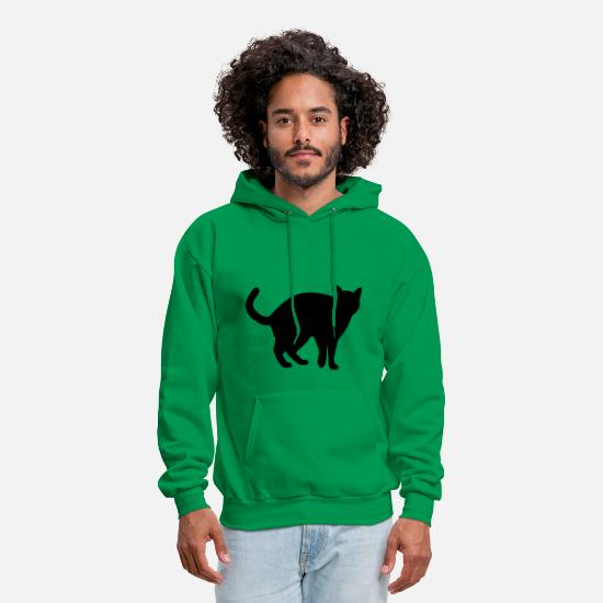 Cat Hoodies & Sweatshirts - Black Cat - Men's Hoodie kelly green
