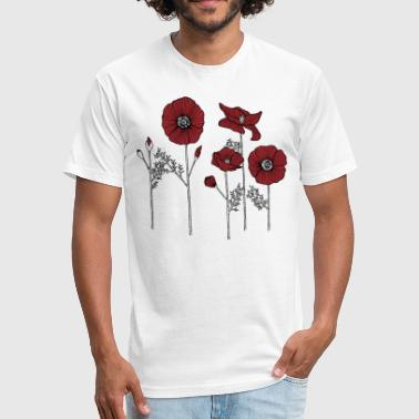 Poppy flowers - Fitted Cotton/Poly T-Shirt by Next Level