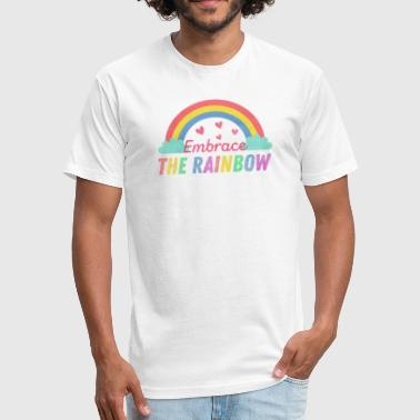 Bisexual Vintage Embrace The Rainbow - Fitted Cotton/Poly T-Shirt by Next Level