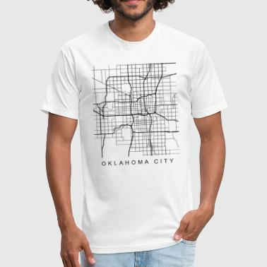 Dark City Oklahoma City Minimalist City Street Map Dark Design - Fitted Cotton/Poly T-Shirt by Next Level