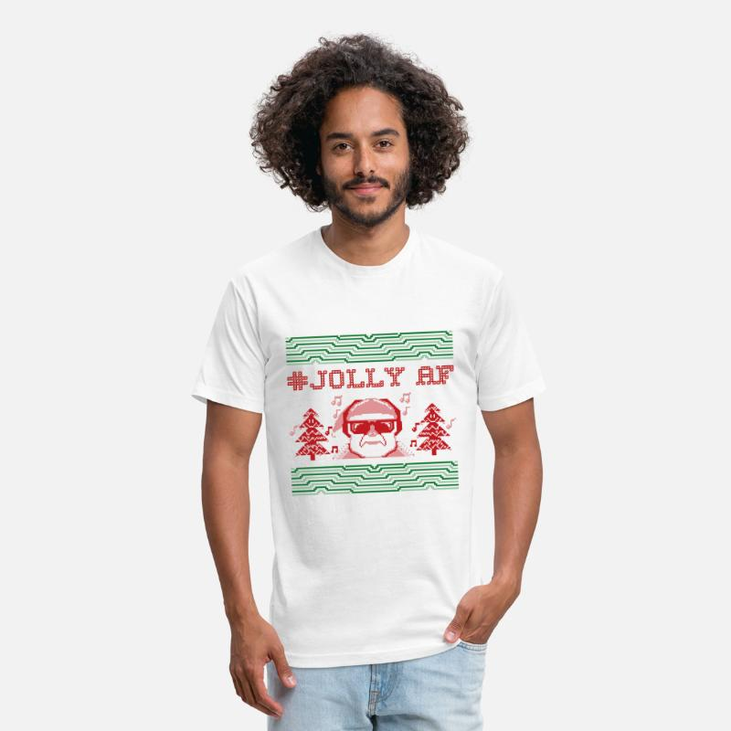 Ugly Christmas Sweater T-Shirts - #Jolly AF Santa | Ugly Christmas Sweater - Unisex Poly Cotton T-Shirt white