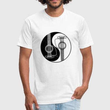 Yin Yang Guitar Yin Yang Guitar - Spiritual Music Gift - Fitted Cotton/Poly T-Shirt by Next Level