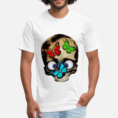 Skull Butterfly Skull with butterflies - Fitted Cotton/Poly T-Shirt by Next Level