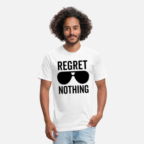Quotes T-Shirts - Regret Nothing Quote - Unisex Poly Cotton T-Shirt white