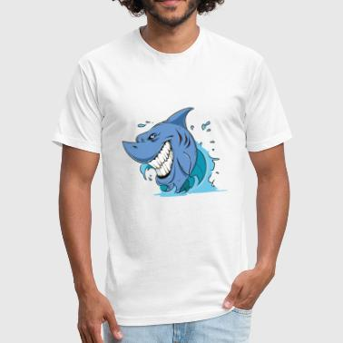 Wild Shark Comic Style - Fitted Cotton/Poly T-Shirt by Next Level