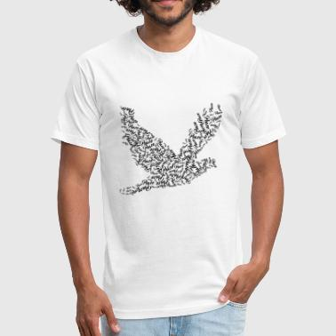 Peace Dove Fly Flying Peace - Dove Typography - Fitted Cotton/Poly T-Shirt by Next Level