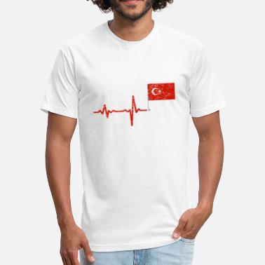 Turkey Flag Heartbeat Turkey flag gift - Fitted Cotton/Poly T-Shirt by Next Level