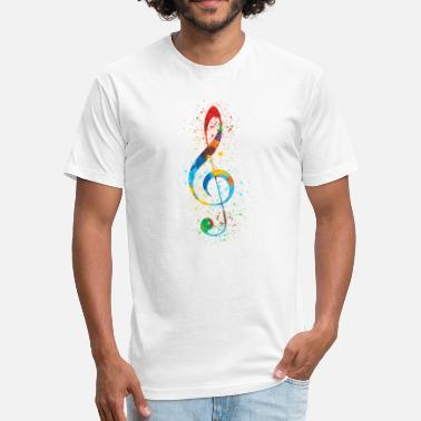 G4 Treble Clef Paint Splatter Art Colorful & Vibrant - Fitted Cotton/Poly T-Shirt by Next Level