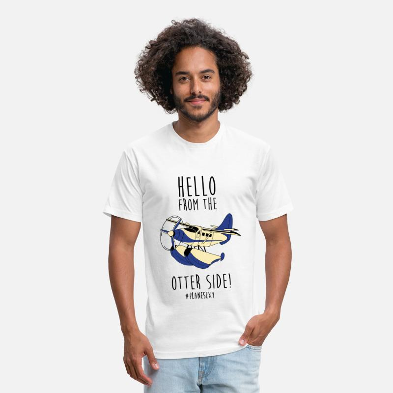 Pilot T-Shirts - Hello From The Otter Side - Dark Text - Unisex Poly Cotton T-Shirt white