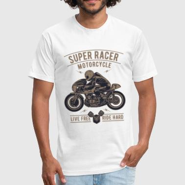 Super Racer Motorcycle Design - Fitted Cotton/Poly T-Shirt by Next Level