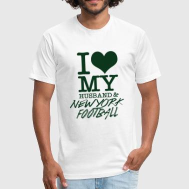 I Love Newyork New york - I Love My Husband & Newyork Football - Fitted Cotton/Poly T-Shirt by Next Level