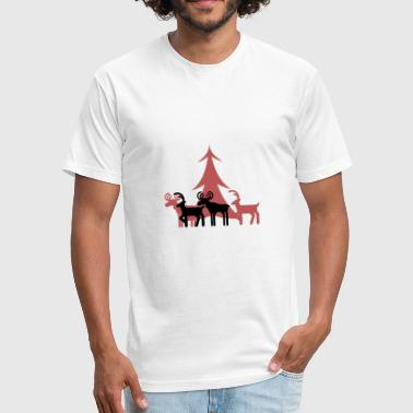 New Wilderness New Xmas Design Reindeer Santa Gift Present - Fitted Cotton/Poly T-Shirt by Next Level