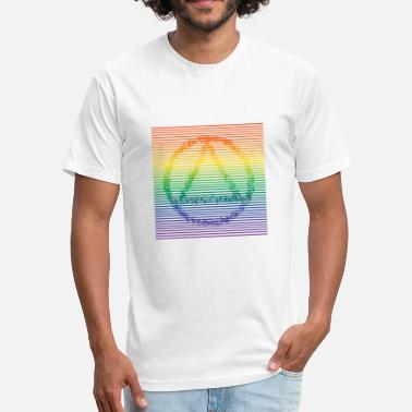 Clean And Sober Recovery with Vibrating Line in Rainbow Color - Fitted Cotton/Poly T-Shirt by Next Level