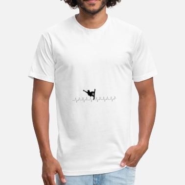 I Love Snowboarding Heartbeat Snowboard - I love snowboarding - Fitted Cotton/Poly T-Shirt by Next Level