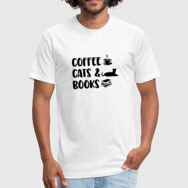Coffee Cats Books - Fitted Cotton/Poly T-Shirt by Next Level