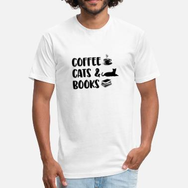 Books Black Cat Coffee Cats Books - Fitted Cotton/Poly T-Shirt by Next Level