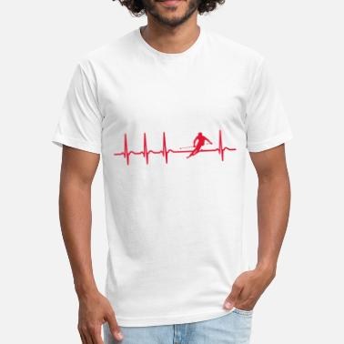 Cool Ski Heartbeat skiing ski apres ski fun gift cool skier - Fitted Cotton/Poly T-Shirt by Next Level