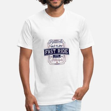Salt Flats 2Bonneville Utah Salt Flats Fast Ride Motorcycle - Fitted Cotton/Poly T-Shirt by Next Level