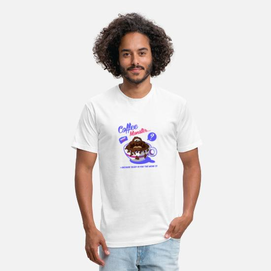 Pop Art T-Shirts - Coffee Monster - Unisex Poly Cotton T-Shirt white