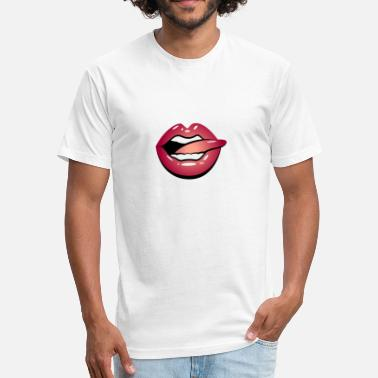 Icon Tongue Tongue Stroking A Red Lips - Unisex Poly Cotton T-Shirt
