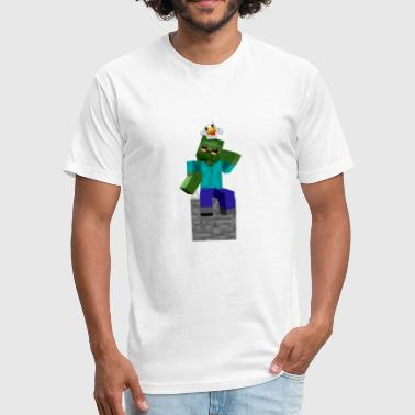 Craftronix Zombie and Chicken - Fitted Cotton/Poly T-Shirt by Next Level