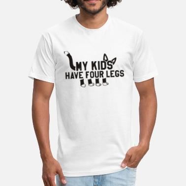 Pussy Legs my kids have four legs Funny Cat T Shirt - Fitted Cotton/Poly T-Shirt by Next Level