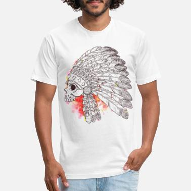 Indian Warriors Indian Warrior Skull Watercolor - Unisex Poly Cotton T-Shirt