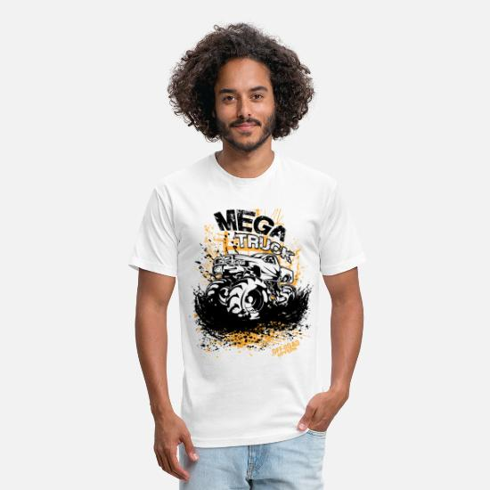 Mud T-Shirts - Mega Mud Truck - Unisex Poly Cotton T-Shirt white