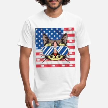 4th of July Cool Cat with US mouse flag clean - Unisex Poly Cotton T-Shirt