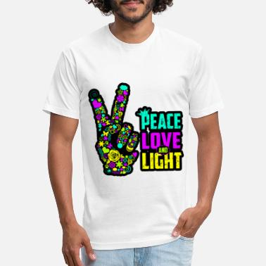 Blacklight Peace Love Light Hand Neon Blacklight Trendy Trend - Unisex Poly Cotton T-Shirt