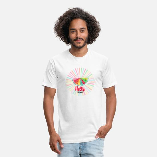Summer T-Shirts - colorful rainbow watermelon-sun rays -Hello summer - Unisex Poly Cotton T-Shirt white