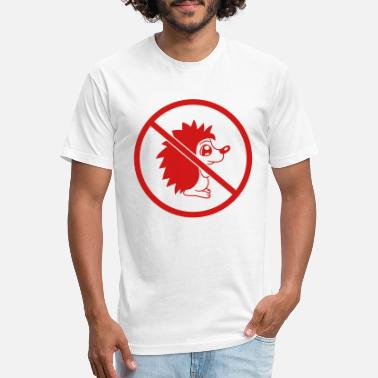 Prohibited prohibited no hedgehog sign warning zone small cut - Unisex Poly Cotton T-Shirt