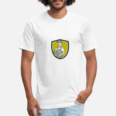 Repairman Holding Spanner Crest Cartoon - Unisex Poly Cotton T-Shirt