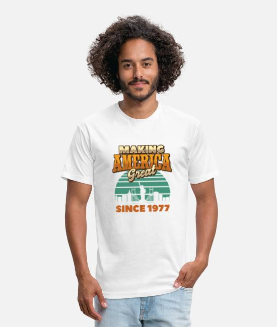 4th Of July T-Shirts - Making America Great Since 1977 Vintage Birthday - Unisex Poly Cotton T-Shirt white